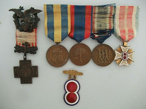 USA SPANISH WAR MEDAL GROUP OF 5 MEDALS. ARMY OF PHILLIPINES MEDAL IN GOLD! RR!