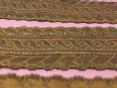 RARE FRENCH Couture ANTIQUE METAL SEQUINS GOLD LACE RUFFLE PATTERN 5mm PARIS