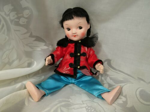 "ADORABLE VINTAGE COMPOSITION ASIAN CHINESE JAPANESE ORIENTAL DOLL 8.5"" UNMARKED"