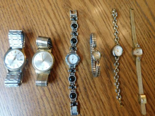6 Watch Lot - Timex, Jules Jurgensen, Belforte, Bulova, GV2 Spirit Ladies Men