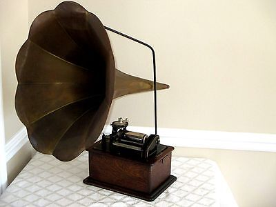 ANTIQUE EDISON PHONOGRAPH ORG OAK CASE MACHINE W BRASS HORN-IN VGC- WORKS-RECORD