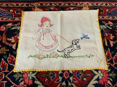 Antique Vintage Linen Hand Embroidered Cushion Cover Pillow Case Girl Dog Bird