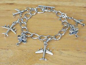 Aviation/Airplane Silver-Tone Toggle Charm Bracelet Flight Attendant/Stewardess+
