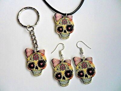 Sugar Skull Tag der Toten Halskette/Ohrringe/Schlusselring Auswahl von Drei