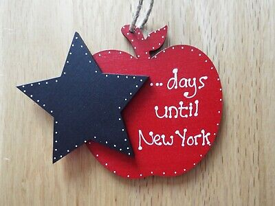 Countdown to New York Holiday Apple chalkboard wood sign plaque gift best friend