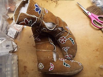 1800TO EARLY1900s NATIVE AMERICAN INDIAN BEADED TALL MOCCASINS, SEED BEADS