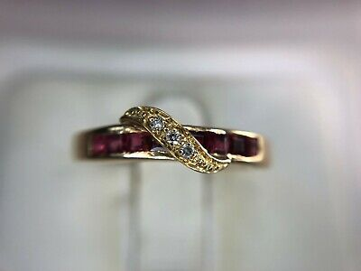 Estate Vintage 14k Yellow Gold Red Square Garnet Round Diamond Band -