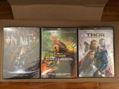 Marvel Thor Dvd Trilogy, Thor The Dark World, Thor Ragnarok Dvd New