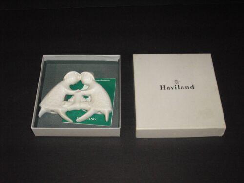 VNT 1979 Haviland Limoges Porcelain Ornament Children Yule Logs In Box France