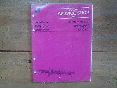 John Deere 1600 Series Chisel Plow Operators Manual