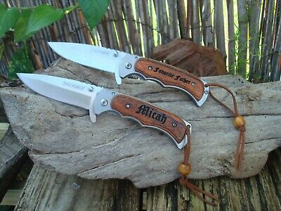-  Personalized Engraved Knives, Knife Custom,  Leather Cord for hanging, 934