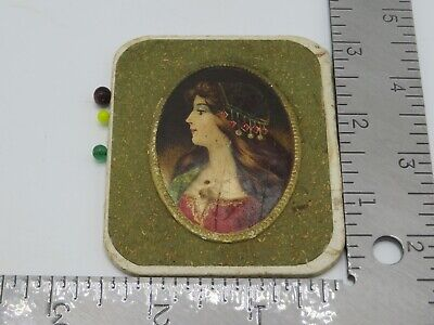 Vintage Victorian Square Pin Cushion Woman Side Portrait Sewing Paper P5