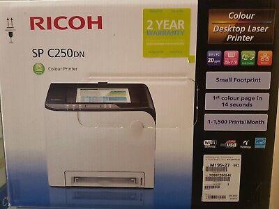Ricoh Color Laser (NEU RICOH SP C250DN Colorlaserdrucker A4 Laser Drucker Duplex WLAN WiFi USB Farb)