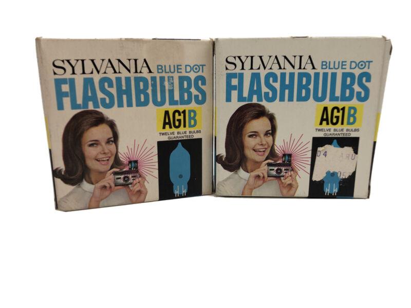 Vintage Sylvania Blue Dot Flashbulbs AG1B 12 Blue Bulbs New Old Stock Lot Of Two