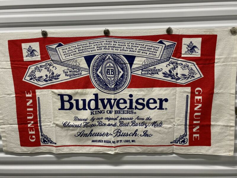 Budweiser Beach Towel. NOS With Laundry Instructions NEW NEVER USED Vintage