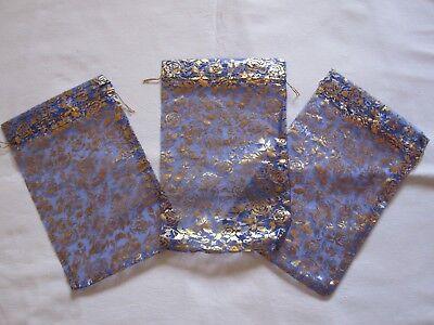 100 Organzabeutel -  Blau - 30x20 cm **extra groß** - mit goldenen Rosen