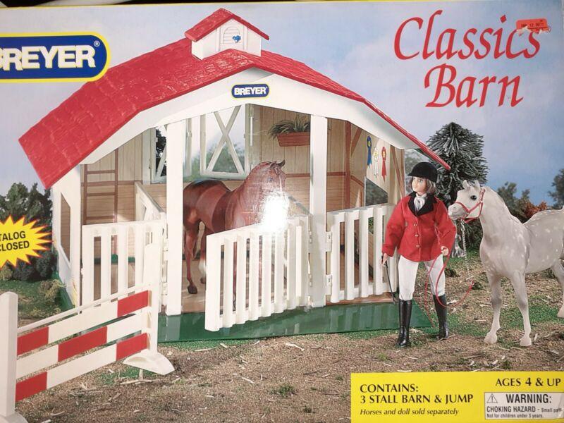 ⭐ New. Breyer Classics Barn #720650, 3 Stall Horse Toy Barn Red Roof Box Damaged