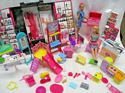 Barbie Dollhouse Furniture Lot Living Room Kitchen Store & More! w/ 2 Dolls (ARE
