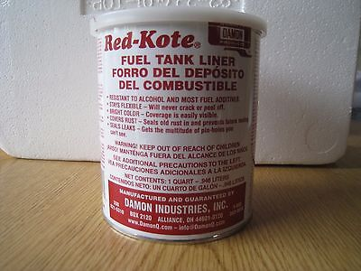Red Kote Quart Fuel Tank Liner Coat Sealer Gas Oil Diesel Motorcycle Patch Pin