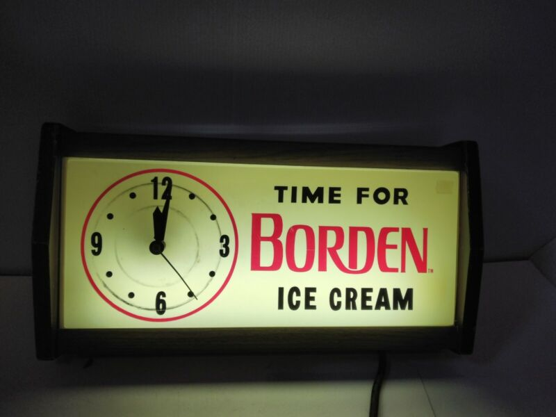 "Vintage Borden Lighted Clock Advertising Dairy - ""Time For Borden I"