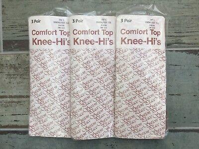 9 Pairs Vintage Sandalfoot Toe Comfort Top Knee Highs, Suntan, One Size, BNWT