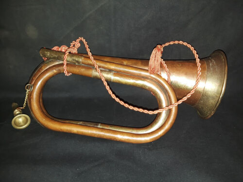 Brass Military Bugle With Removable Mouth Piece, Instrument, Horn 10.5 Inch.
