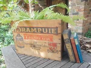 Fabulous rustic industrial vintage/antique Drambuie wooden box.