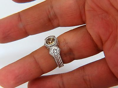 GIA 2.30CT FANCY YELLOW BROWN DIAMONDS RING 18KT EDWARDIAN CROWN DECO+ 6