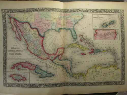 1860 Mitchell map of Mexico, Central America, Caribbean * Original Antique! 0043