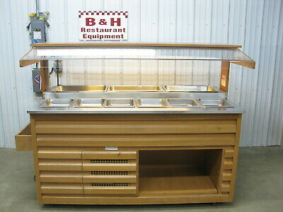 Arneg 72 Wood Olive Salad Bar Refrigerated Cold Buffet Table W Sneeze Guard