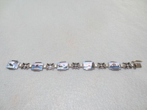 Vtg Norwegian Enamel scenes Panel Link Bracelet Sterling Silver? Askel Holmsen?