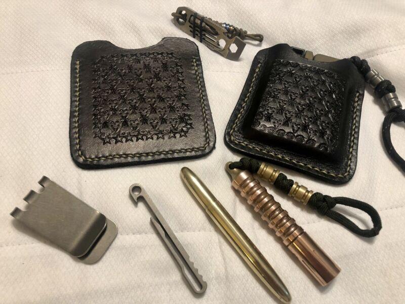 Black Leather Tooled Pocket Case Sleeve Holster Trailblazers Lifecard 22lr/wmr