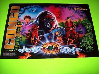 Williams CONGO 1995 Original NOS Pinball Machine Translite Backglass Artwork