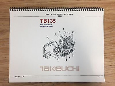 Takeuchi Tb135 Parts Manual Sn 13510004 And Up Free Priority Shipping