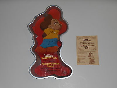 Vintage 1978 Wilton Disney MICKEY MOUSE Birthday CAKE PAN Mold & Book #515-1805 - Mickey Mouse Birthday Cake Pan