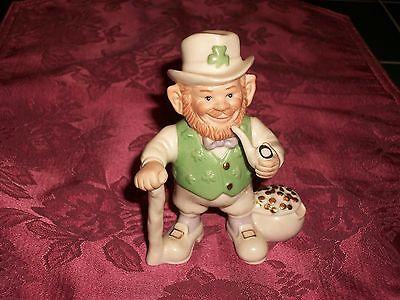 Lenox Painted Ivory Porcelain Irish Leprechaun Figurine w/ Pipe & Sack of Gold