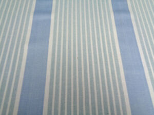 JANE CHURCHILL 'Brett Stripe' blue fabric. Linen/Cotton material per metre