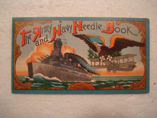 Vintage Needle Book American Army Navy Dreadnaught Ship Biplane Eagle