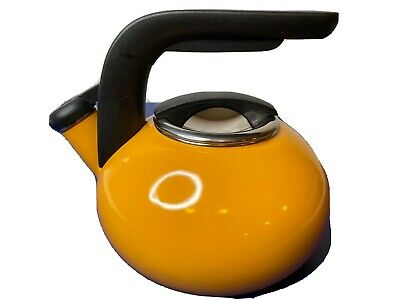 KitchenAid Whistling Tea Kettle Yellow Enamel 1.5 Qt QQ10T Removable Lid Video