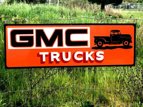 Vintage Metal Chevy Chevrolet GMC General Motors Gas Oil Hand Painted Truck Sign
