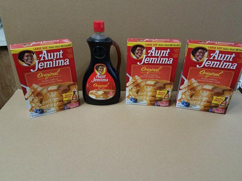 Aunt Jemina Syrup Original Flavor Bottle & 3 Boxes Pancake Waffle Mix Discontinu
