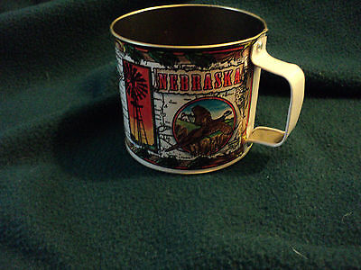 Nebraska souvenir tin cup pheasant buffalo deer   collectible tin cup Nebraska