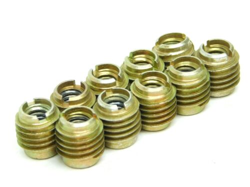 """10 PACK 1/4""""-20 Steel Slotted Threaded Inserts For Wood 3/8"""" OD x 1/2"""" Length ES"""