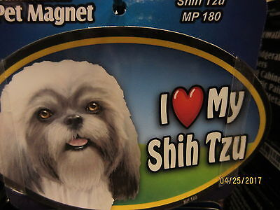 I Love My Shih Tzu 6 inch oval magnet for car or anything metal  New