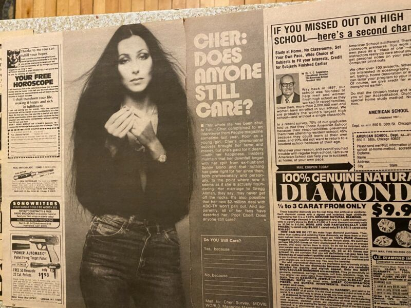 Cher, Two Page Vintage Clipping