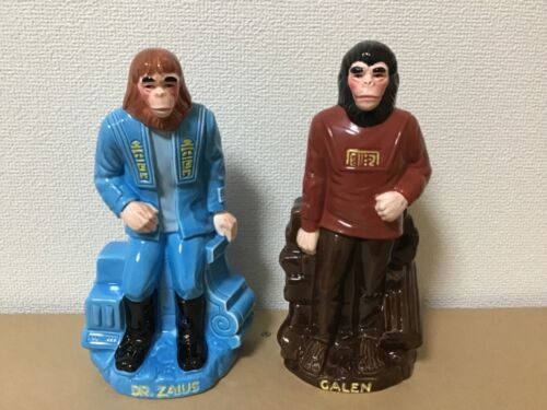 Planet of the Apes set of ceramic coin banks with original cardboard boxes.