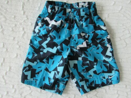 NIKE Blue/Black/White Geo Print Swimming Trunks Volley Shorts, Boys size S