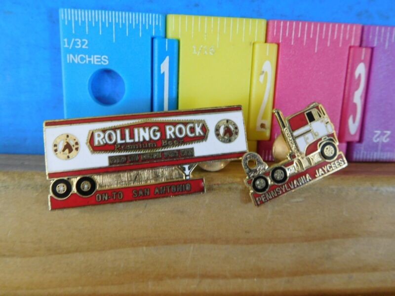 Jaycees Pennsylvania Rolling Rock Beer tractor trailer Semi truck pin lapel hat