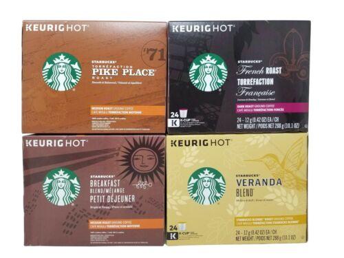 Starbucks Keurig Veranda,Breakfast,Pike Place&French Coffee 96K-Cup Exp Oct 2019