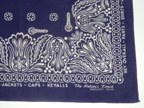 Rare KEY WORK CLOTHES Navy & White Cotton Advertising Bandana Handkerchief